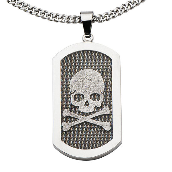 Inox® Jewelry Mens Stainless Steel Skull & Crossbones Dog Tag Pendant Necklace