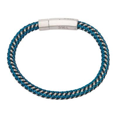 Inox® Jewelry Mens Stainless Steel & Braided Black Leather Bracelet