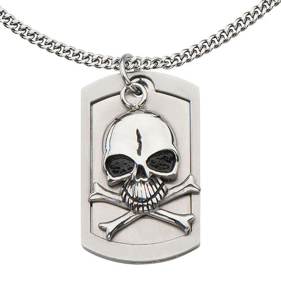 Mens Stainless Steel Alien Skull Pendant Necklace