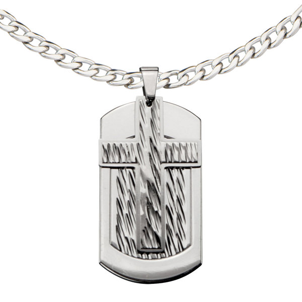 Inox® Jewelry Mens Stainless Steel Cross Dog Tag Pendant Necklace