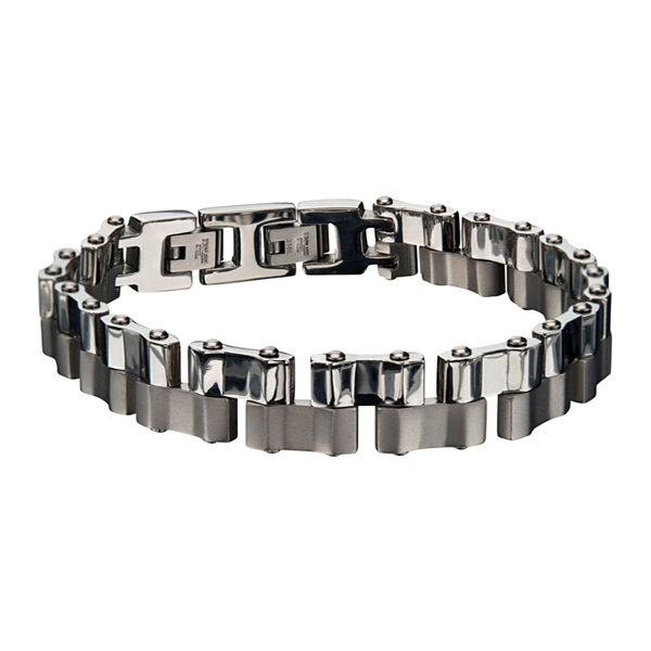 Mens Two-Tone Stainless Steel Offset Link Bracelet