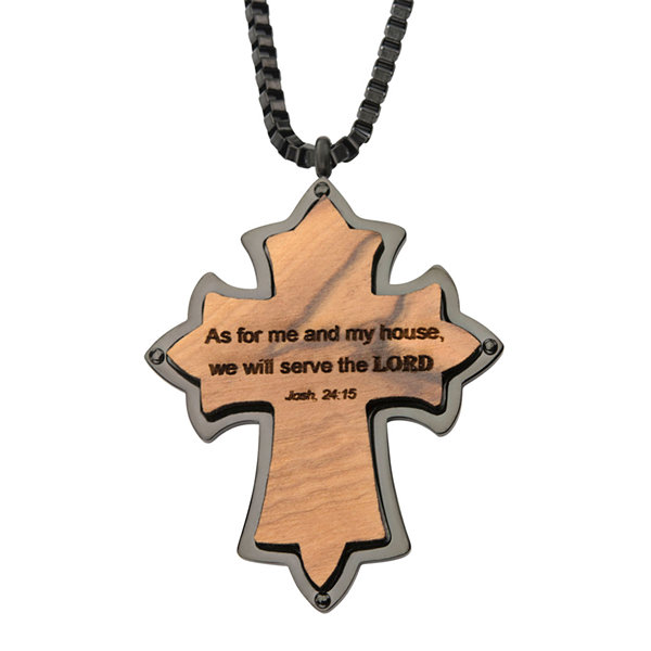 "Mens Stainless Steel ""As For Me & My House"" Cross Pendant Necklace"