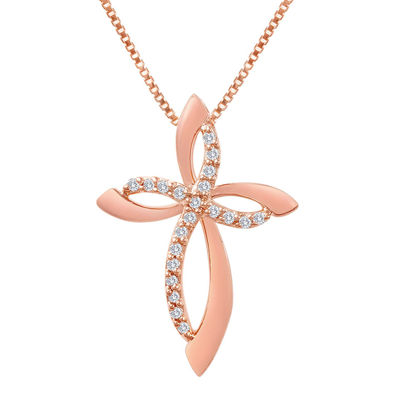 1/10 C.T T.W Diamond 14K Rose Gold-Plated Sterling Silver Cross Pendant Necklace