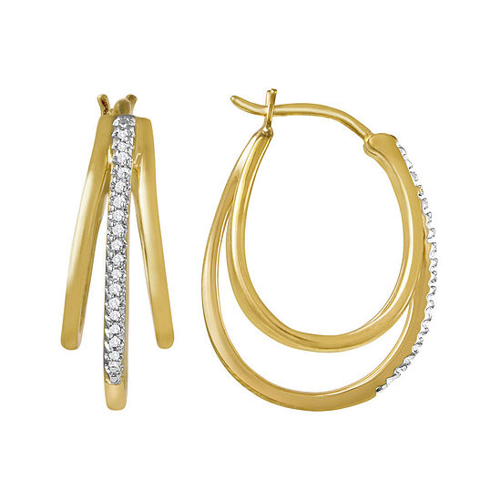T W Diamond 14k Yellow Gold Over Sterling Silver Triple Hoop Earrings