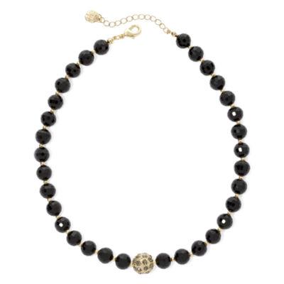 Monet® Gold-Tone Black Bead Collar Necklace