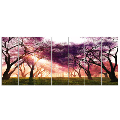 Design Art Cherry Blossoms Japan Garden Landscape Canvas Art Print - 7 Panels