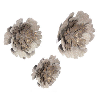 Set Of 3 Antique Flowers Metal Wall Art