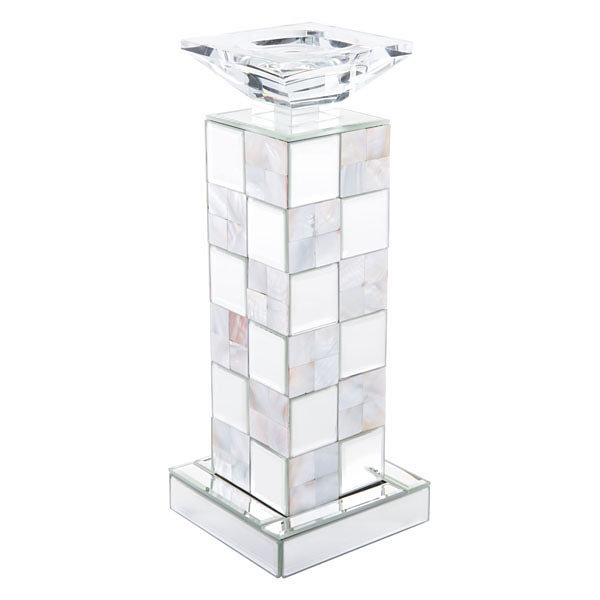 Squares Mirror Mother of Pearl Candle Holder