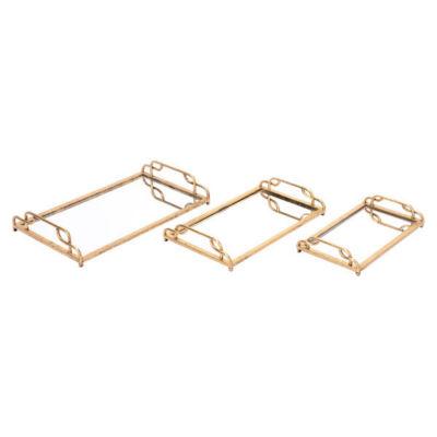 3-pc. Mirrored Decorative Tray Set