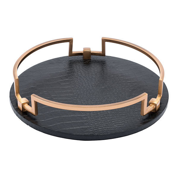 Faux-Leather Round Decorative Tray