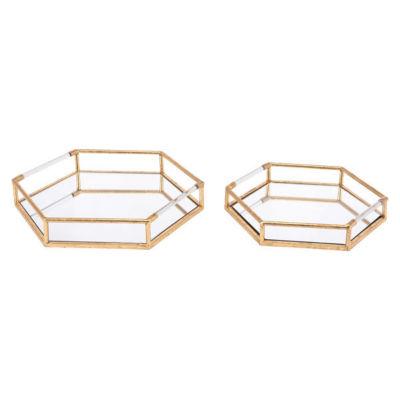 Golden 2-pc. Decorative Tray Set