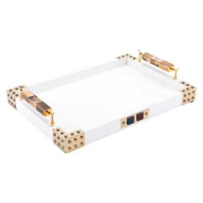 Rectangular Decorative Tray With Horn & Agate Handle