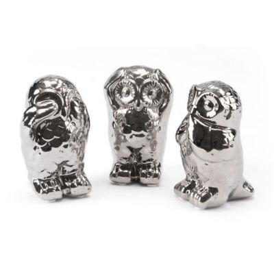 Set of 3 Owl Figurines