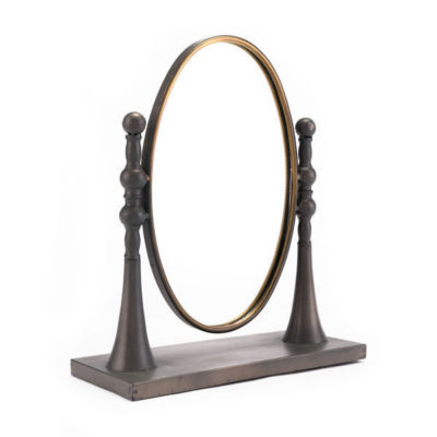 Circle Tabletop Mirror With Stand
