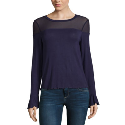 Derek Heart Not Applicable Long Sleeve Crew Neck Jersey Blouse-Juniors
