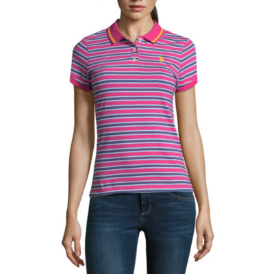 Us Polo Assn. Short Sleeve Stripe Polo Shirt - Juniors
