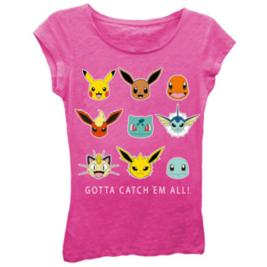 "Pokemon Girls' ""Gotta Catch 'Em All!"" Faces Short Sleeve Graphic T-Shirt with Crystalline on Type"