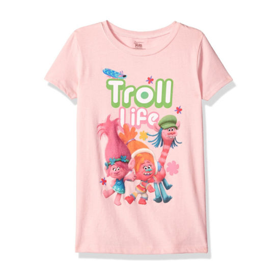 "Trolls Girls' ""Troll Life"" with Flowers Short Sleeve Graphic T-Shirt with Crystalline"