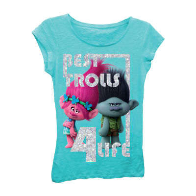 "Trolls Girls' ""Best Trolls 4 Life"" Short Sleeve Graphic T-Shirt with Silver Glitter"