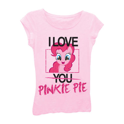 """My Little Pony Girls' """"I Love Pinkie Pie"""" Short Sleeve Graphic T-Shirt with Pink Glitter"""