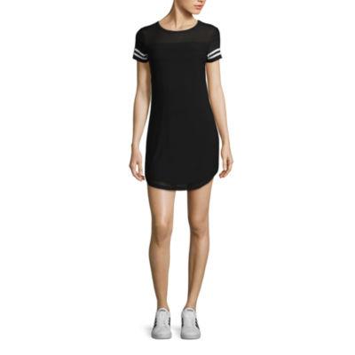 Short Sleeve Mesh Overlay Dress-Juniors