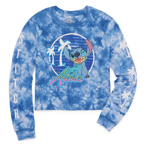 Long Sleeve Lilo & Stitch Graphic Boxy Tee- Juniors