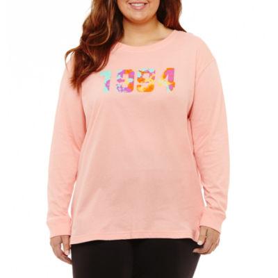 Flirtitude Long Sleeve Round Neck Graphic T-Shirt-Juniors Plus