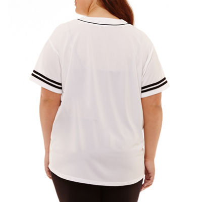 Flirtitude Short Sleeve V Neck Graphic T-Shirt-Juniors Plus