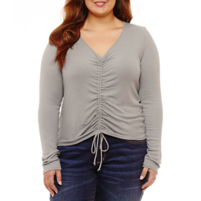 Arizona Long Sleeve Ruched Tie Front Top- Juniors Plus