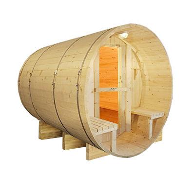 ALEKO 8 Person Outdoor Indoor Wet Dry Wood Barrel Sauna with Bitumen Roofing and Electrical Heater