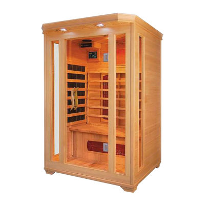 ALEKO 2 Person Wood Indoor Dry Infrared Sauna with 2 Carbon Fiber and 4 Ceramic Heaters