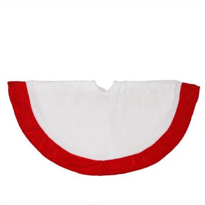 """18"""" Traditional White and Red Velveteen Mini Christmas Tree Skirt"""