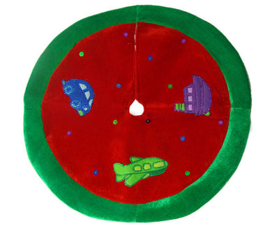 """20"""" Cute Red Car  Plane and Boat Mini Christmas Tree Skirt"""