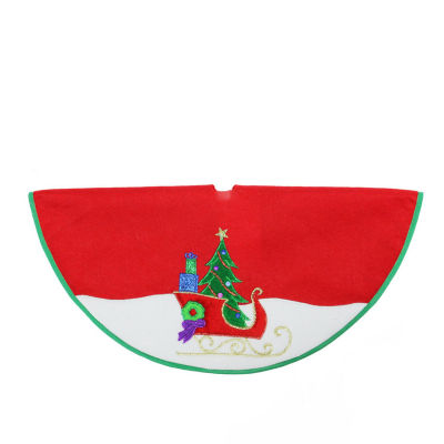 "20"" Red and White Mini Christmas Tree Skirt with Embroidered Sleigh and Tree Applique"
