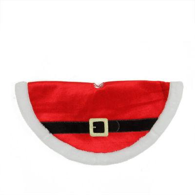 "20"" Traditional Red and White Velveteen Santa Claus Belt Buckle Mini Christmas Tree Skirt"