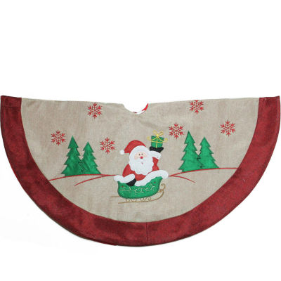 """36"""" Burlap Santa Claus in Sleigh Embroidered Christmas Tree Skirt"""