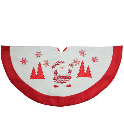 "36"" Red and White Knit Santa Claus Embroidered Christmas Tree Skirt"