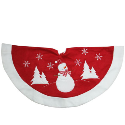 """36"""" Red and White Winter Snowman Embroidered Christmas Tree Skirt"""