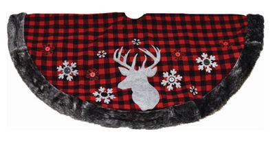 "48"" Alpine Chic Red and Black Checkered Reindeer & Button Snowflakes Christmas Tree Skirt"