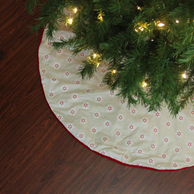 "48"" Beige with Red and White Embroidered Snowflakes Christmas Tree Skirt"
