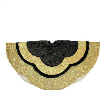 "48"" Black and Gold Embossed Velvet  Silk  Brocade and Metallic Trim Scallop Christmas Tree Skirt"