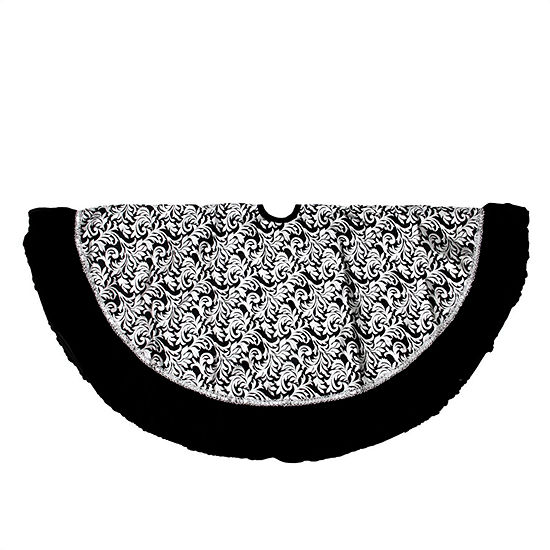48 black and silver metallic flourish christmas tree skirt with venetian style ruffled trim - Black Christmas Tree Skirt