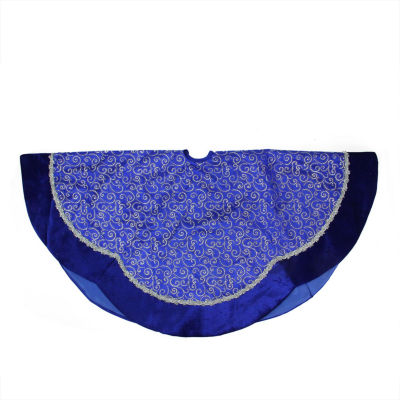 "48"" Blue & Silver Glitter Filigree Swirl Scallop Christmas Tree Skirt with Decorative Metallic Trim"