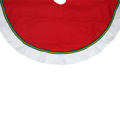 "48"" Christmas Traditions Cardinal Red with Green and White Border Christmas Tree Skirt"
