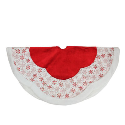 """48"""" Country Cabin Red and White Glitter Snowflake Scallop Christmas Tree Skirt with Faux Fur Border"""