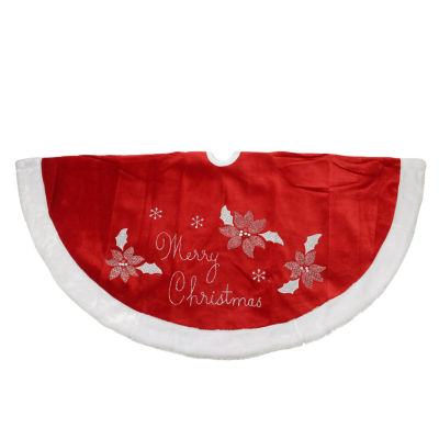 """48"""" Embroidered Red Velveteen Poinsettia """"Merry Christmas"""" Tree Skirt with White Faux Fur Trim"""