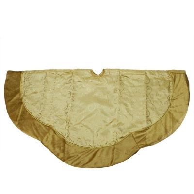 """48"""" Gold Glittered Swirl Christmas Tree Skirt with Velveteen Trim"""
