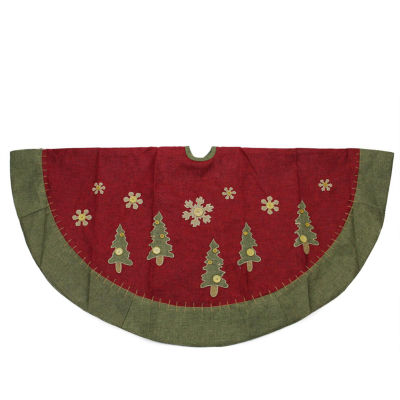"48"" Natural Red and Green Christmas Tree Skirt with Blanket Stitching Trim"