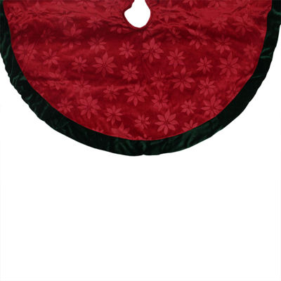 "48"" Poinsettia Embossed Red Christmas Tree Skirt with Green Velveteen Trim"