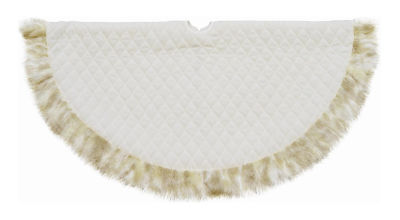 "48"" Quilted Cream White Velvet Christmas Tree Skirt with Tan Faux Fur Border"